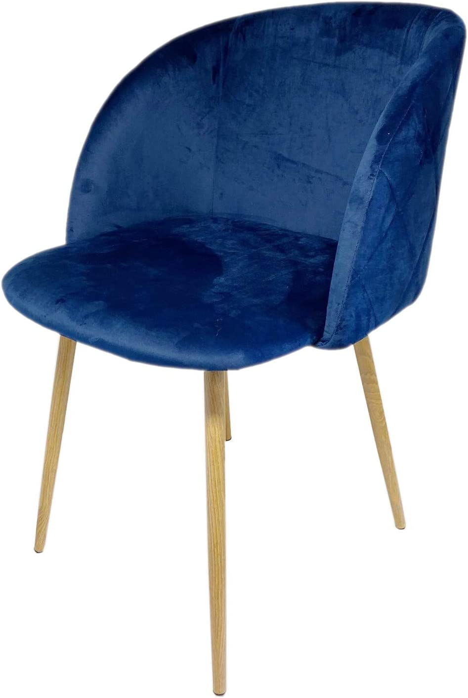 Snug Velvet Dining Chairs w Fabric Seat and Back Kitchen, Dning, Lounge Chairs with Wooden Style Sturdy Metal Legs, Set of 2, Blue Blue