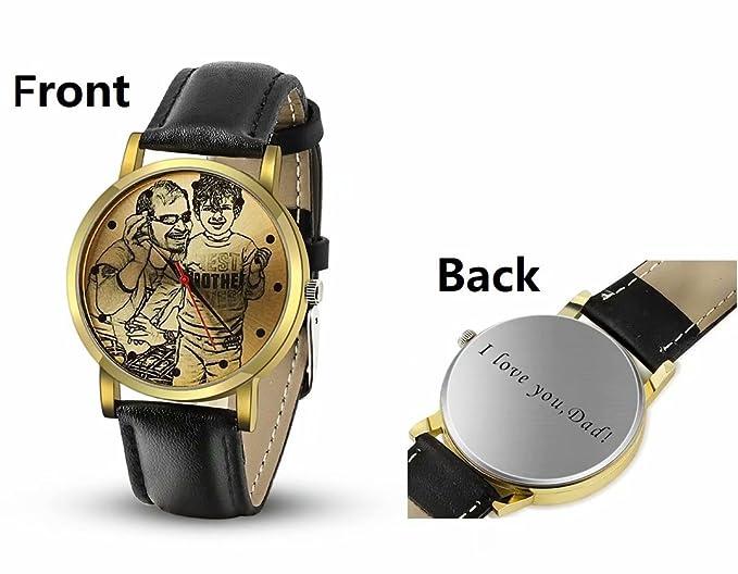 Reloj de Cuero Grabado Personalizado con Foto o Texto para Regalos de Padrinos de Boda Boda Regalo del día del Padre: Amazon.es: Relojes
