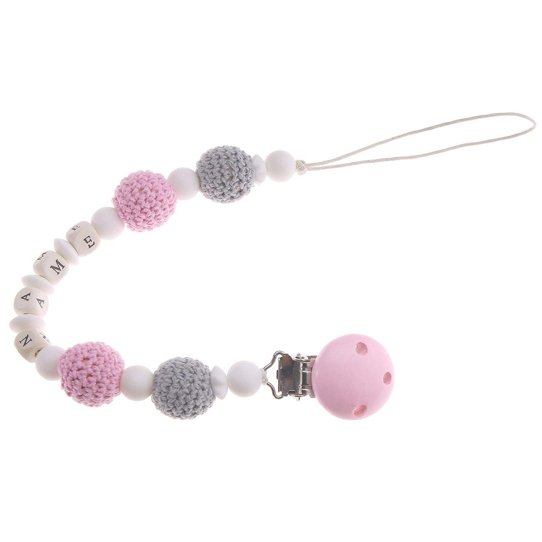 Schnullerkette mit Namen grau rosa Mädchen Herz Baby Geschenk