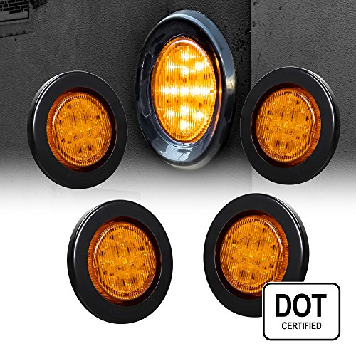 4PC 2.5 Round 10 LED Light [2 in 1 Reflector] [Polycarbonate Reflector] [13 LEDs] [D.O.T. Certified] [2 Year Warranty] Side Marker Light for Trucks and Trailers - Amber