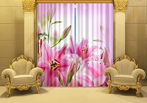 Newrara Pink Lily Flowers Print Blackout 3D Curtains 2 Panels for Living Room Bedroom,Free Hook Included 118W106 L, Pink