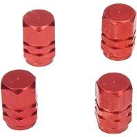 Sonline Lot de 4 bouchons de valve en Alu pour pneus de velo, moto, voiture ... - Rouge