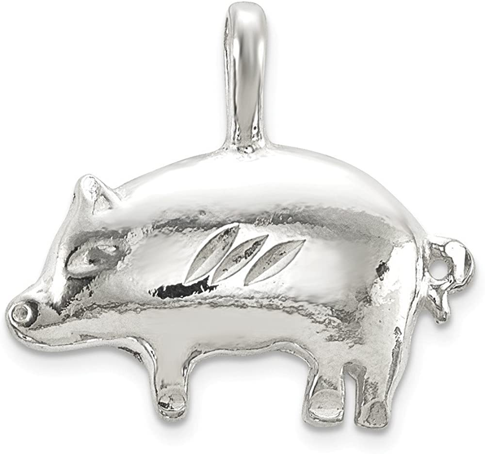 Sterling Silver Pig Charm Pendant