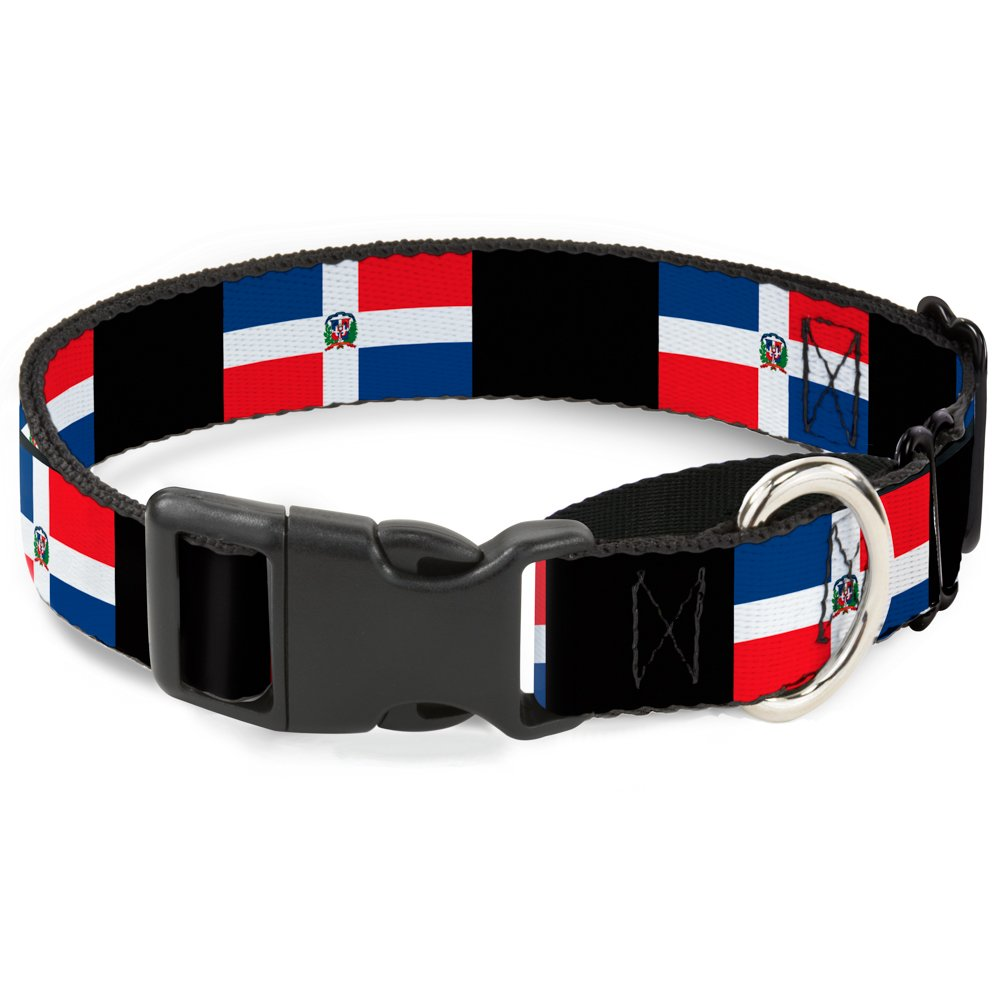Buckle-Down Dominican Republic Flags Black Blocks Martingale Dog Collar, 1  Wide-Fits 11-17  Neck-Medium