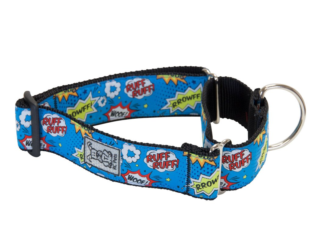 RC Pet Products 1 1/2 Inch All Webbing Martingale Dog Collar, Medium, Comic Sounds