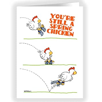 Amazon Spring Chicken Funny Birthday Card Single Birthday