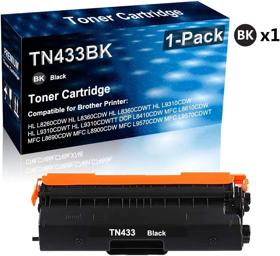 Replacement for Brother TN433 TN433BK Printer Toner High Capacity Black Compatible HL-L8360CDW DCP-L8410CDW MFC-L8610CDW MFC-L9570CDWT MFC-L8900CDW Laser Printer Toner Cartridge 1-Pack