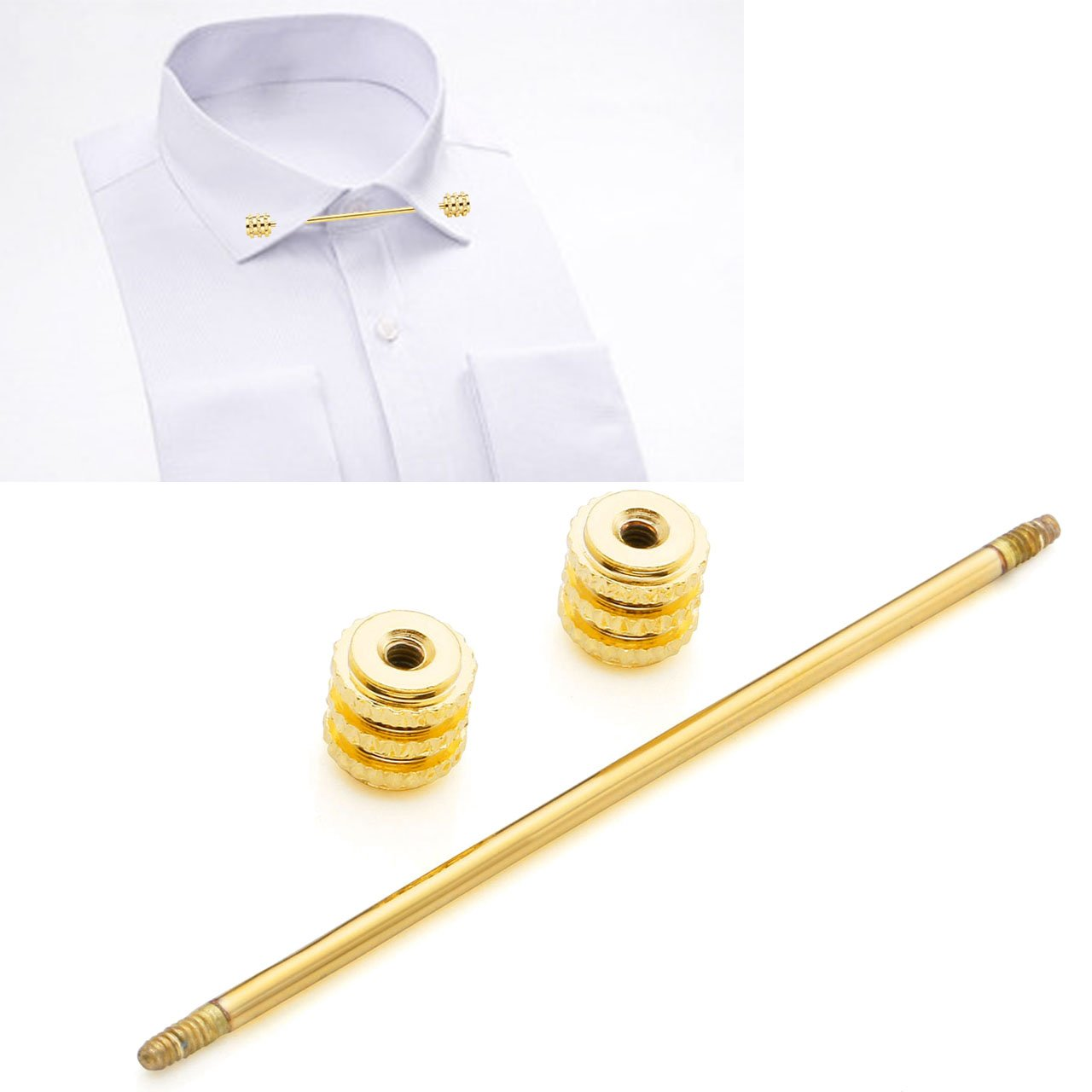 PiercingJ 2-4 pcs Mens Silvery Golden Plated Tone Stainless Steel Shirt Collar Tie Pin Stud Barbell Bar Clip Clasp Brooch by PiercingJ (Image #7)