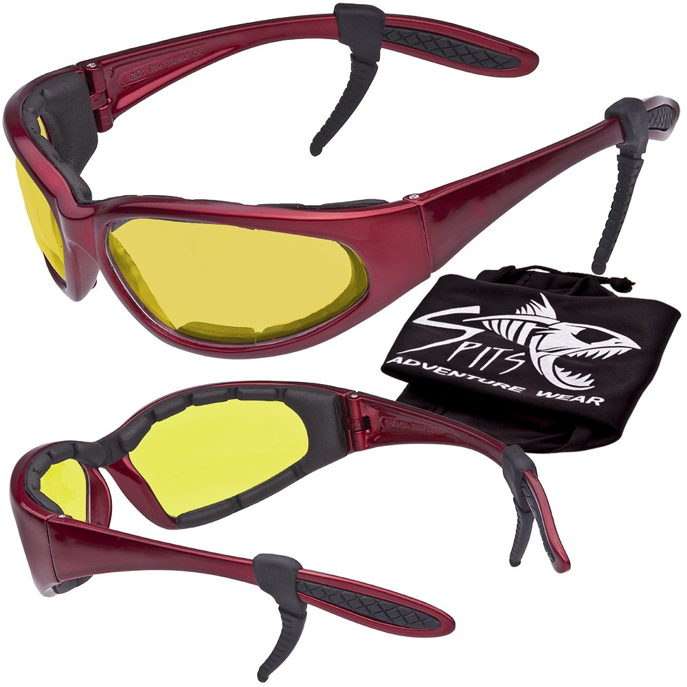 Hercules Safety Glasses ''Plus'' - Foam Padded - Rubber Ear Locks - RED Frame - YELLOW Lenses