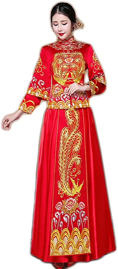 Amazon Com Show Wo Dress Chinese Bridal Costume Chinese Wedding
