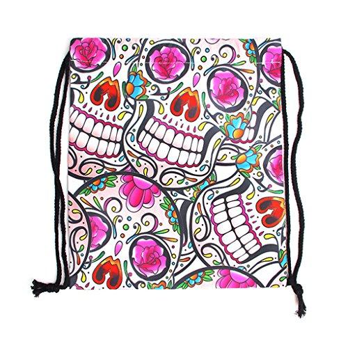 Whatsin Drawstring Backpack Pink Unicorn Ethnic Skull Emotion Emoji Halloween Skull Rainbow Skeleton Bone Print Shoulder Bags School Rucksack String Bags Gym Handbag (Halloween Emoticons For Iphone)