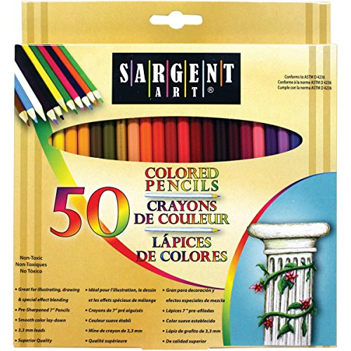 10 Paper Beads - Sargent Art Premium Coloring Pencils, Pack of 50 Assorted Colors, 22-7251
