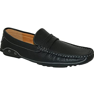9bf494d45942 KRAZY SHOE ARTISTS Black Penny Loafer Driving Shoes - Men (10.5D US)