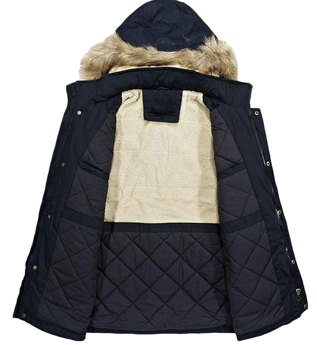 Generic Mens Winter Hooded Coat Faux Fur Lined Warm Padded Parka Outwear