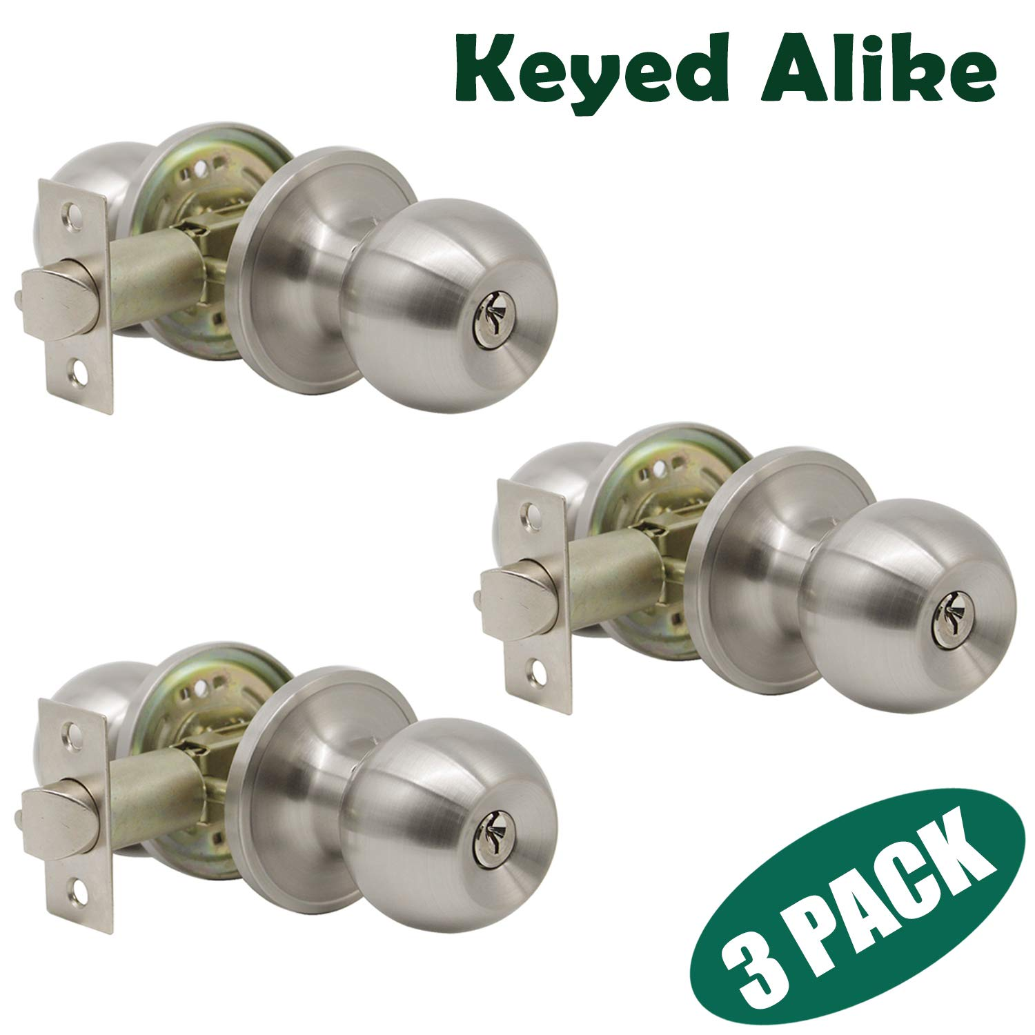 Probrico Satin Nickel Finish One Keyway Door Knobs Hardware Entry with Key Handles Keyed Alike Door Lockset, 3 Pack, Keyed Hardware