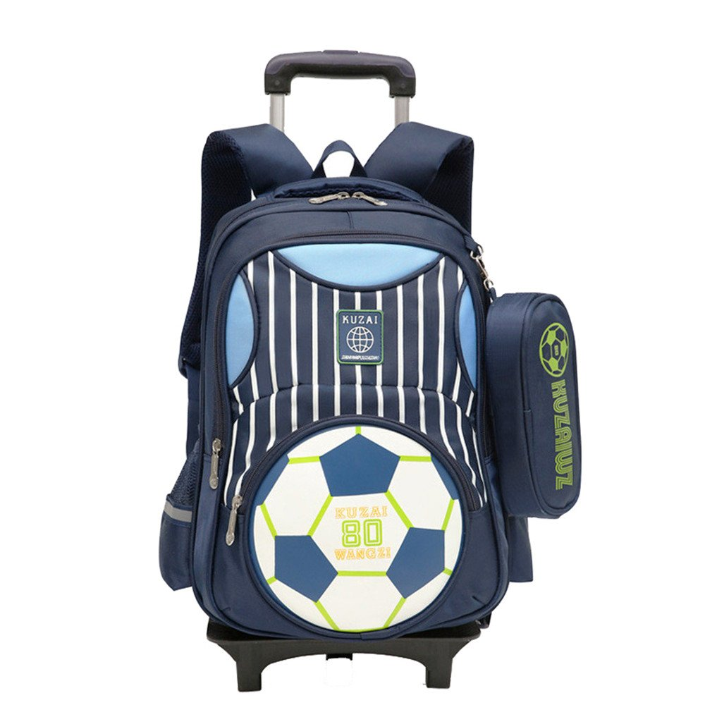 Adanina Cartoon Printed Football Trolley Backpack Elementary Book Bag Primary School Bag with Wheels for Kids by Adanina