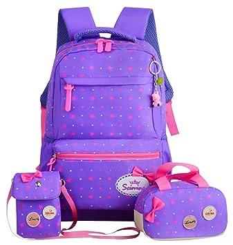 444b78ce2c22 JiaYou Girl Boy Cute Lunch Bag Purse/Pencil Bag School Backpack 3 Sets  (24L, StyleG Purple)