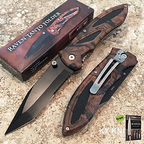 Heavy Duty Raven Folding Pocket Knife Camo Handle Black Tanto Blade 210959 + Free eBook by SURVIVAL STEEL