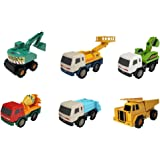 MOTA Mini Heavy Industrial Toy Truck Set, 6-Piece Construction Vehicle Fleet