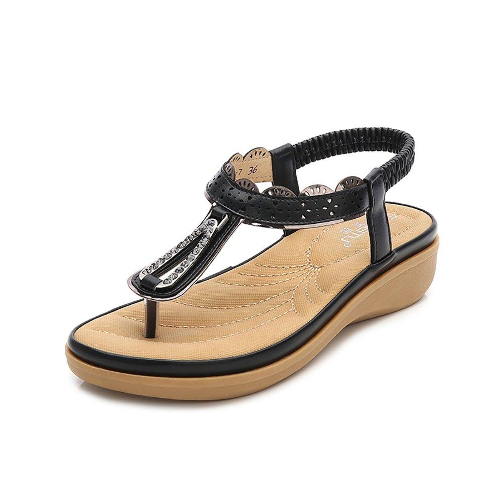 Wollanlily Women Summer Beach Flat Sandals Bohemia Flip-Flop Ankle Strap Thong Shoes Black-02 US 8