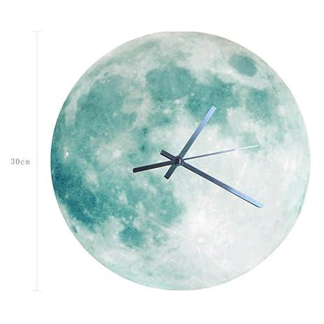 Amazoncom LEERYA 3D Luminous Large Moon Fluorescent Wall clock
