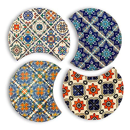 Absorbent Ceramic Trivet/Coaster Set with Cork Base, Set of 4 Modern Moroccan Boho Table or Bar Coasters, Also Used as Kitchen Pot Holders, Hot Pad or Trivets for Hot Dishes, Pots and Pans, 4.25