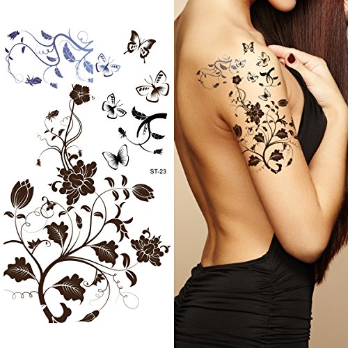 Toned Down Halloween Costumes (Supperb Temporary Tattoos - Black Tribal Fall Flower Tattoos)