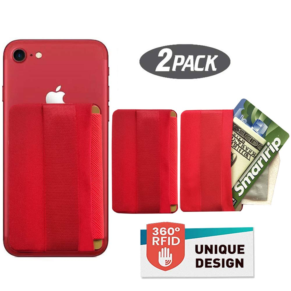 WUOJI [2PCS] RFID Blocking Phone Grip Card Holder with Flip,Self Adhesive Finger Strap Phone Pocket,Phone Card Wallet Card Sleeves Phone Wallet Sticker for All Smartphones (Lid-Red) by WUOJI