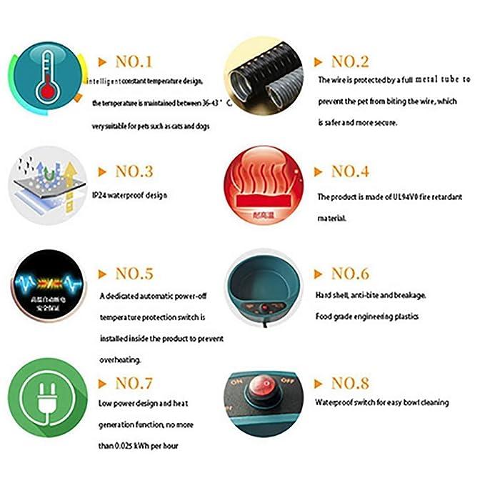 HLMF Mascotas Que beben Automático Dispensador de Agua automático Tazón de Agua Caliente al Aire Libre - Alimentador de Agua Termal Contenedor de la Jaula ...