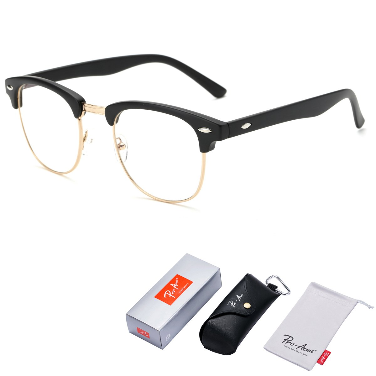 Pro Acme Vintage Inspired Semi-Rimless Clubmaster Clear Lens Glasses Frame Horn Rimmed (Matte Black) by Pro Acme