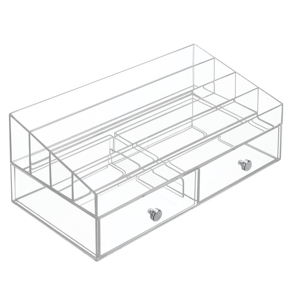 InterDesign Clarity Cosmetic Organizer with Drawers for Vanity or Cabinet to Hold Makeup; Nail Polish; Beauty Accessories – 4 Compartments – Clear