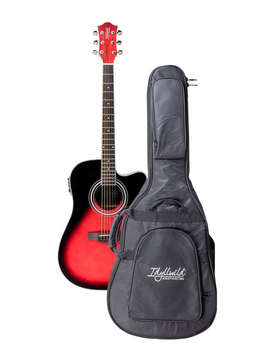 Monoprice 610062 Idyllwild Foothill Acoustic Electric Guitar with Tuner, Pickup & Gig Bag, Red Burst