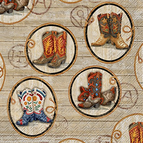 Ideal Home Range 20 Count Wild West Boots Paper Luncheon Napkins Western Lunch