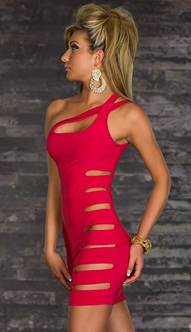 Women Sexy One Shoulder Sleeveless Side Hole Mini Clubwear Cocktail Dress at Amazon Womens Clothing store: