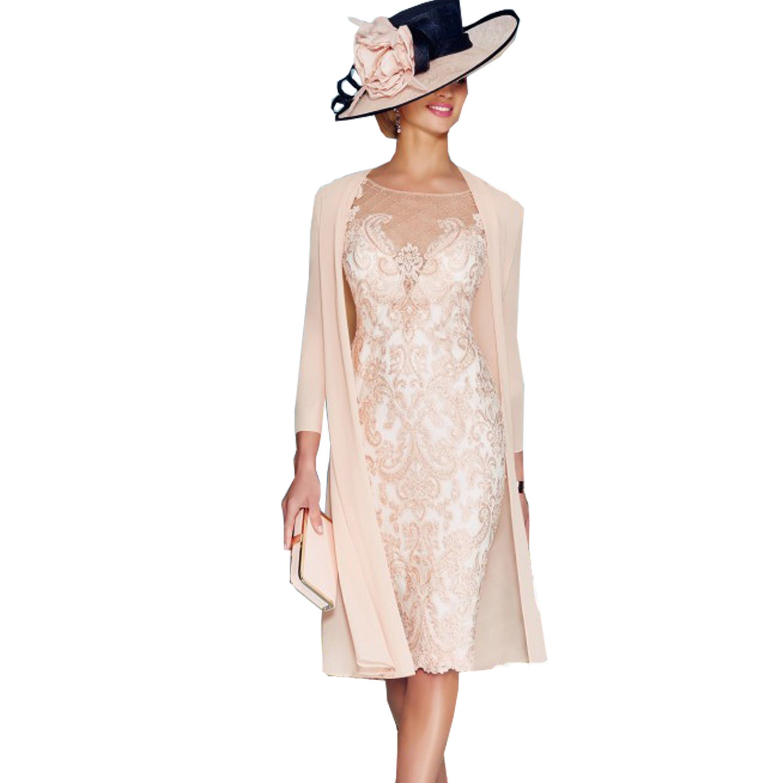 Dressvip rosa con pizzo, a maniche lunghe, lunghezza sotto il ginocchio in Chiffon Vestito con giacca