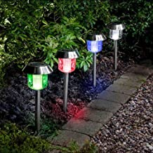 4x Colour Changing Solar Powered LED Lights Outdoor Garden Path Post Lighting Shopmonk by zizzi