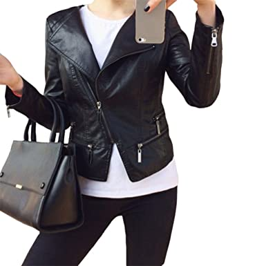 DSRTGWS Faux Soft Leather Jackets Hot Fashion Autumn Winter Women PU Black Blazer Zippers Coat Motorcycle