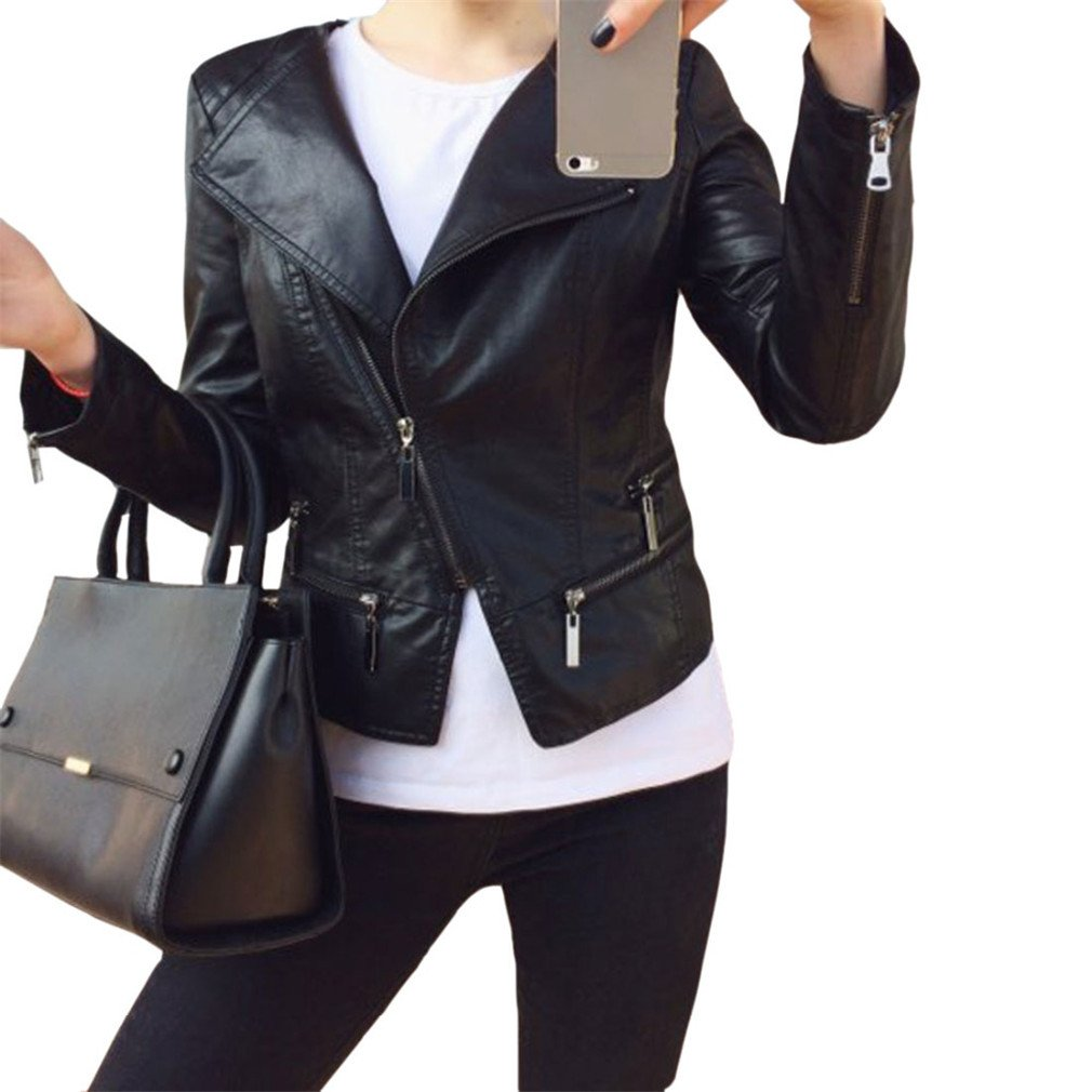 Faux Soft Leather Jackets Hot Fashion Autumn Winter Women PU Black Blazer Zippers Coat Motorcycle Outerwear Pimkie at Amazon Womens Coats Shop