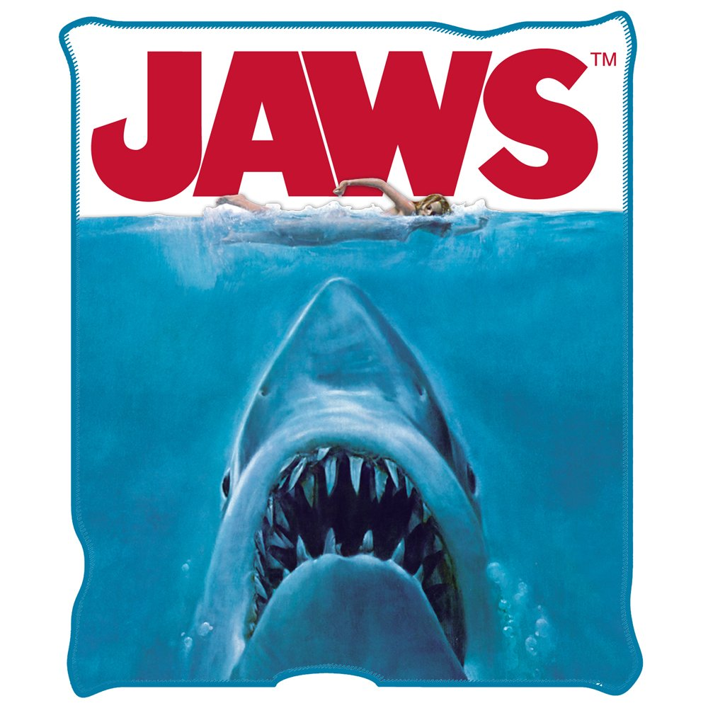 Silver Buffalo JW0127 Jaws Movie Poster Throw Blanket, 50 in. x 60 inches