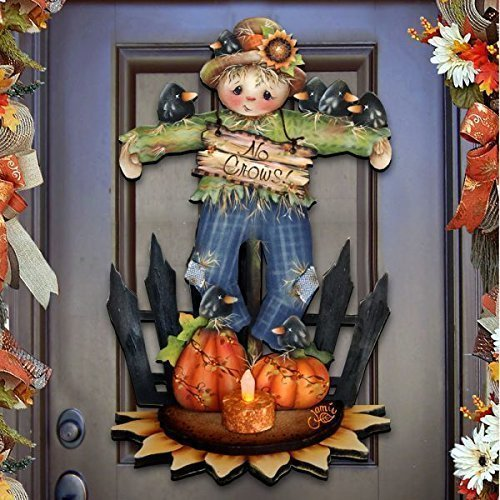 "Jamie Mills-Price Halloween ""No Crows Scarecrow"" Wooden Indoor & Outdoor Wooden Fall Hanging Door Decoration, Wall Sign, For Home, School, Party #8457404H -"