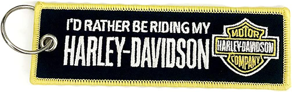 Harley Davidson Black Yellow Frame Embroidered Tag Key chain for Motorcycle Scooters Racing Biker Key Ring Accessory