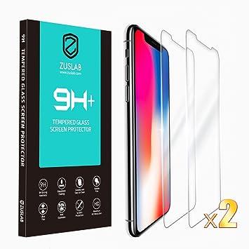 7b36e23994c ZUSLAB [2 Paquetes Protector de Pantalla para Apple iPhone XS/iPhone X  Película Protectora de Vidrio Templado. Ultra Claro, Anti-Rasguños, Funda  Amistoso: ...