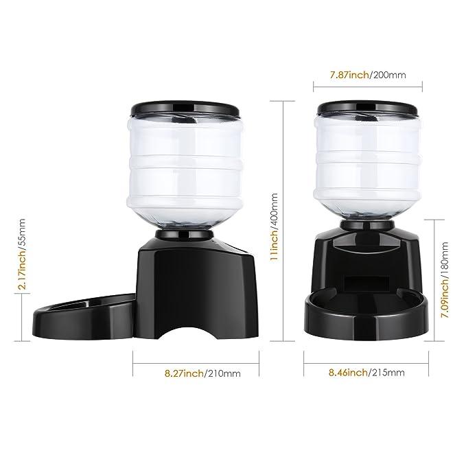 Amzdeal Comedero Automático Gatos y Perros 5.5L, Alimentador de Mascotas con Pantalla LCD, Dispensador con Función de Grabación: Amazon.es: Productos para ...