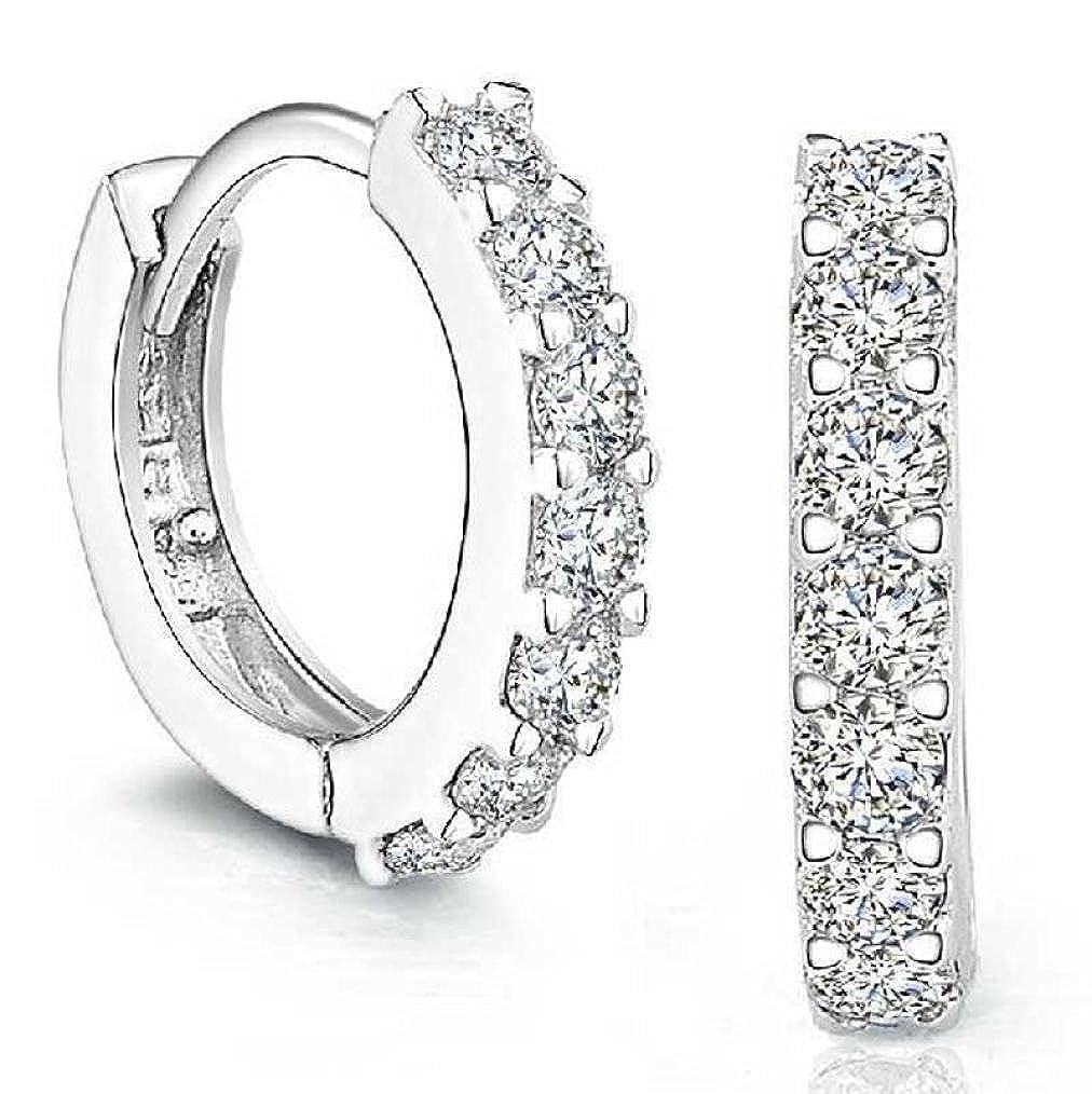 Kalmstore Women Girls Fashion Jewelry Silver Plated Hoop Stud Earrings with Rhinestones