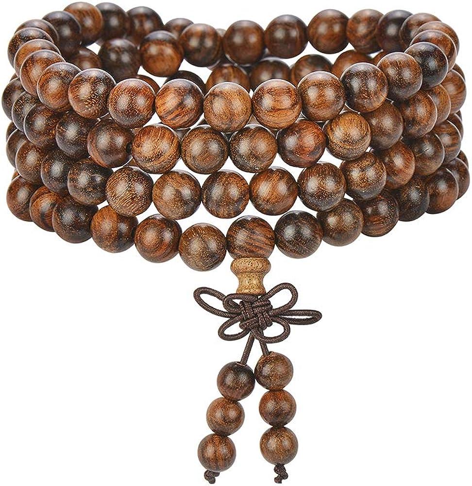 fengzong 4 Colors Unisex Sandalwood 6mm 108 Buddhist Prayer Beads Mala Multi-layer Wood Strand Beaded Bracelet Red /& 6mm*108