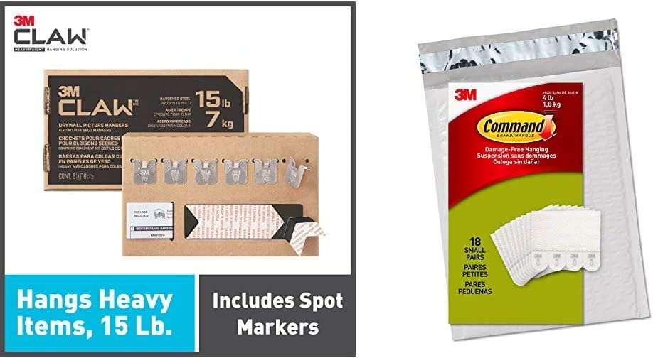 3M Claw Drywall Picture Hangers Holds 15 lb. & Command Picture Hanging Strips, Small, White, 18-Pairs
