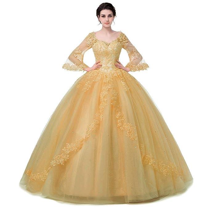 e30f8480938 Este vestido dorado está fabricado con material de tul con una longitud  hasta el piso. Cuenta con un sujetador integrado y un cierre de cordones en  la ...