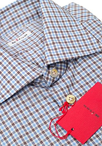 Kiton CL Checked White Blue Brown Shirt 42/16,5 U.S.