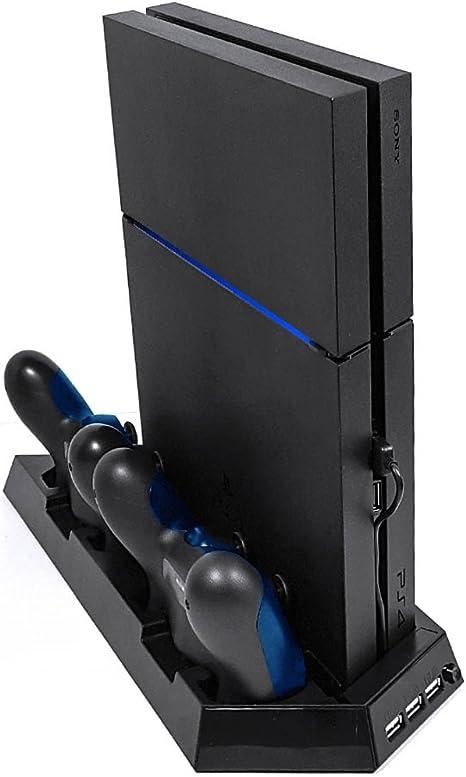 Vorbana Soporte vertical , ventilador de refrigeración , y de la estación de carga dual para Playstation 4 (PS4)  . Viene con 3 puertos USB para sus Accesorios Playstation .: Amazon.es: Videojuegos