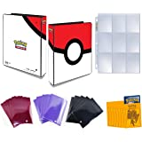 Pokemon Poke Ball 3-Ring Binder Plus Card Sleeves - Comes With 25 9-Pocket Platinum Pages and Authentic Ultra Pro or Elite Trainer Sleeves - Protect Your Deck In Style - Binder Holds Up To 1800 Cards